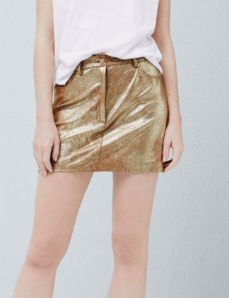 MANGO METALLIC MINI SKIRT