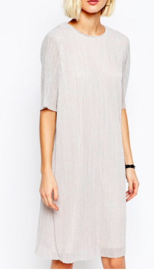 Selected Nune Shift Dress in Crinkle Metallic