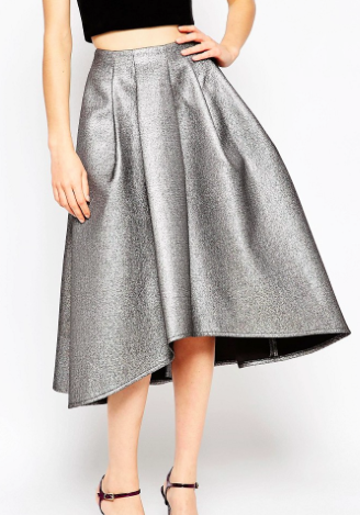 ASOS Full Midi Skirt in Metallic