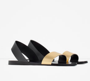 zara FLAT METALLIC LEATHER SANDALS