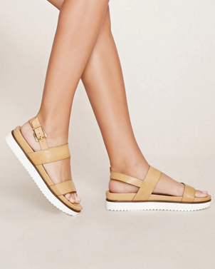 FOREVER 21 Faux Leather Flatform Sandals