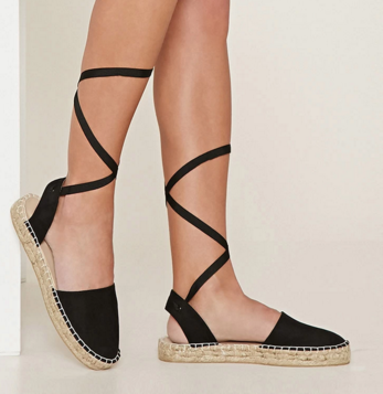 FOREVER 21 Faux Suede Lace-Up Espadrilles