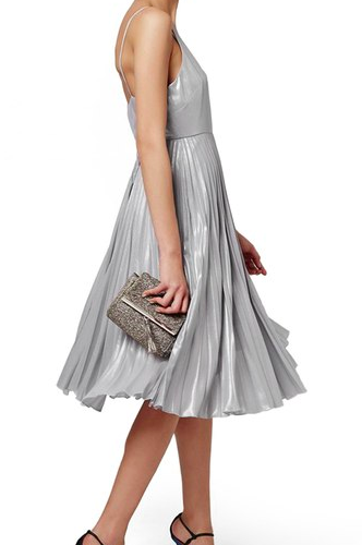 Topshop Metallic Pleated Midi Dress