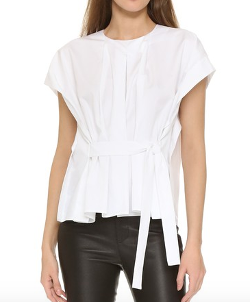 Tibi Poplin Pleated Tie Top
