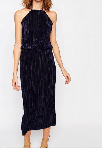 Warehouse Pleated Midi Dress