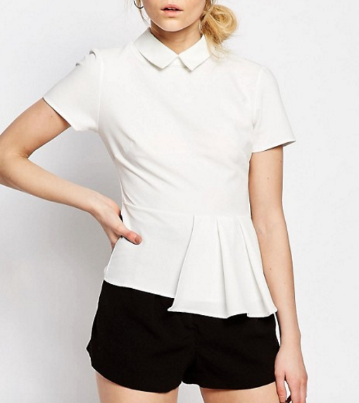 Alter Petite Short Sleeve Collar Top With Pleat Hem Detail