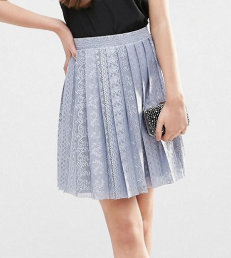 ASOS Pleated Lace Mini Skirt