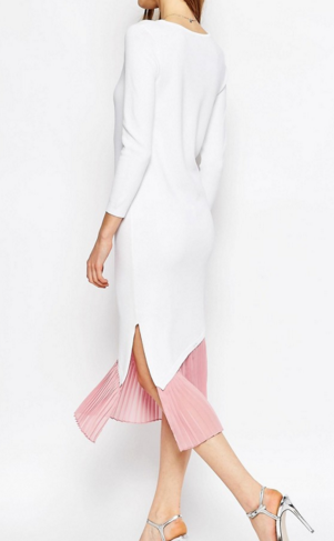 ASOS Knit Midi Dress with Pleat Detail and Asymmetric Hem