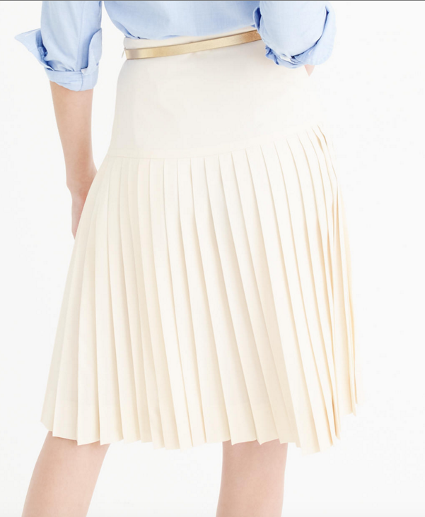 J.CREW DROP-WAIST PLEATED SKIRT IN SUPER 120S WOOL