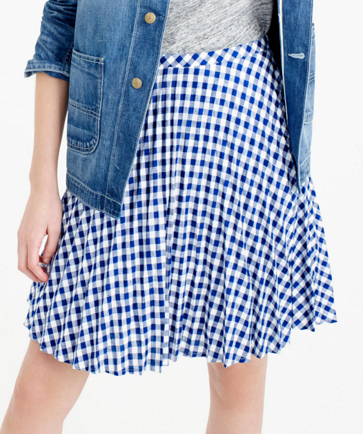 J.CREW GINGHAM PLEATED MINI SKIRT
