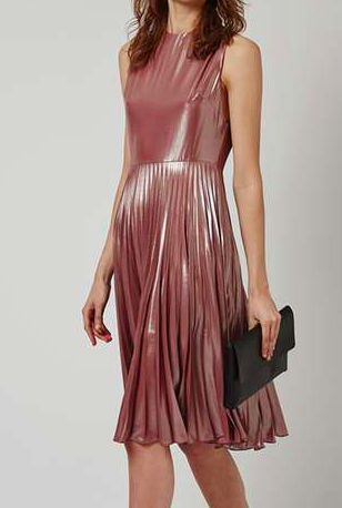 TOPSHOP PETITE Metallic Lamé Pleated Midi Dress