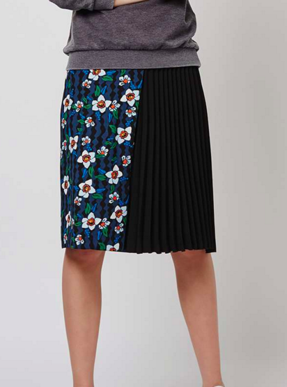 Topshop Flower Pleat Panel Midi Skirt