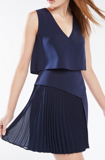 ABILENA ASYMMETRICAL PLEATED DRESS