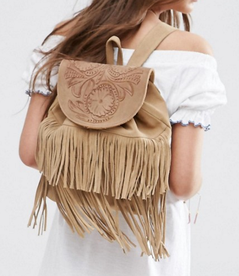 ASOS Suede Fringe Backpack With Embossed Flap