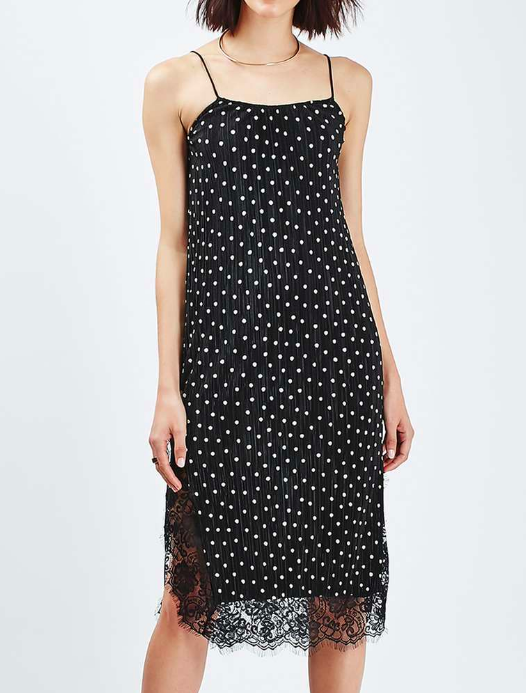 Topshop Spot Print Pleat Slip Dress