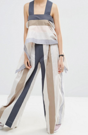 ASOS WHITE Stripe Wide Leg Pant