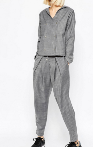 ASOS WHITE Awkward Length Pants in Pinstripe