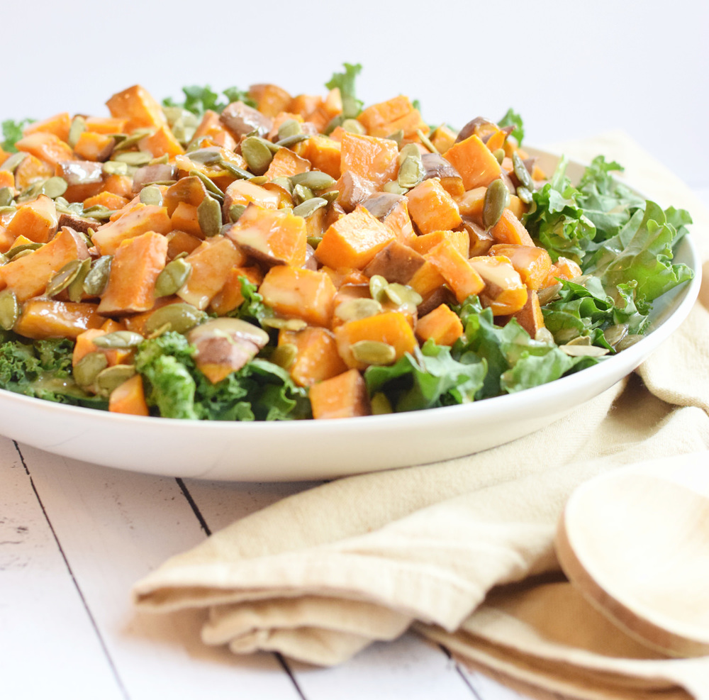 Kale Sweet Potato Tahini Salad | TrufflesandTrends.com