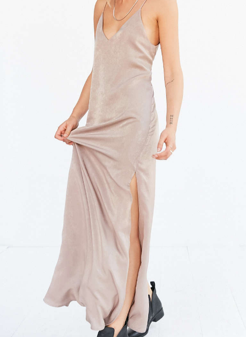 Silence + Noise Deep-V Satin Maxi Slip Dress