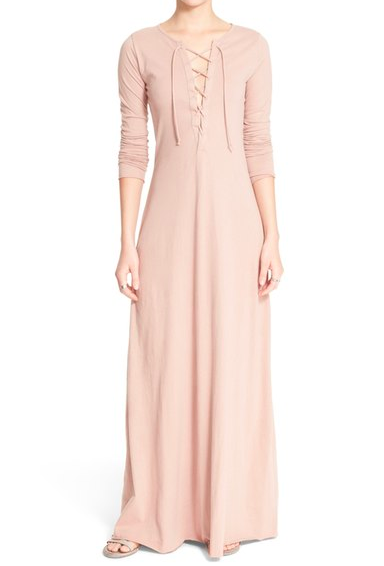 Free People 'Psychomagic' Lace-Up Knit Maxi Dress