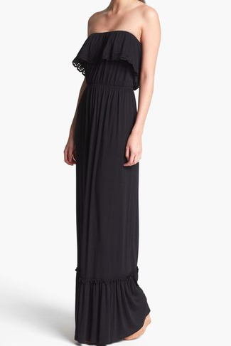 FELICITY & COCO Ruffled Strapless Maxi Dress