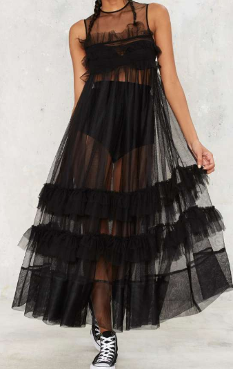 Nasty Gal I'll Take That Net Ruffle Dress