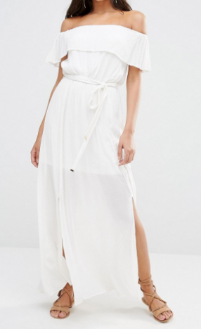 River Island Cheesecloth Off The Shoulder Maxi Dress