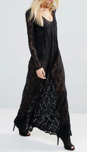 Noisy May X Bloody Noisy Sheer Maxi Dress In All Over Lace