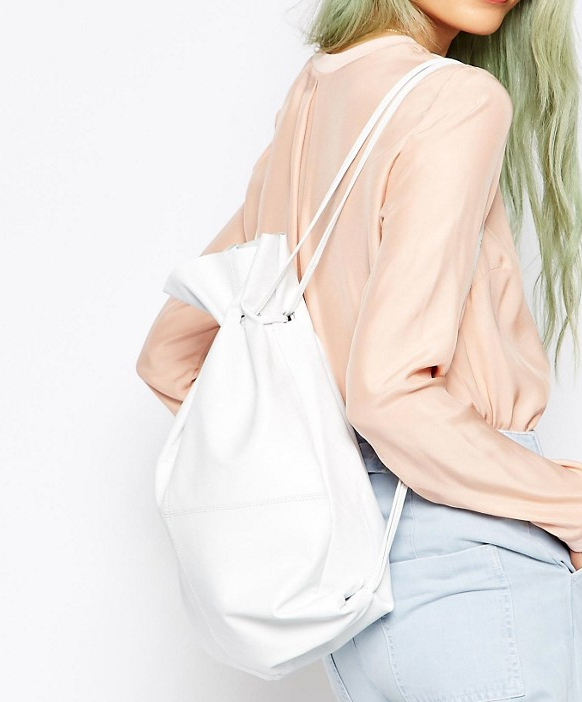 ASOS Leather Drawstring Backpack