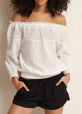 AERIE OFF-THE-SHOULDER CROCHET TRIM TEE