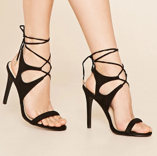 Forever 21 LAce-Up Faux Suede Stilettos