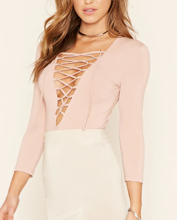 FOREVER 21 Plunging Lace-Up Bodysuit
