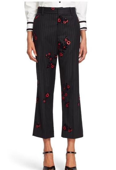 MARC JACOBS Floral & Pinstripe Crop Flare Wool Pants