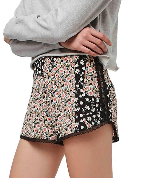Topshop 'Ditsy' Patchwork Runner Shorts