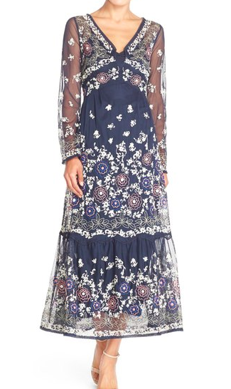 French Connection Embroidered Mesh Maxi Dress
