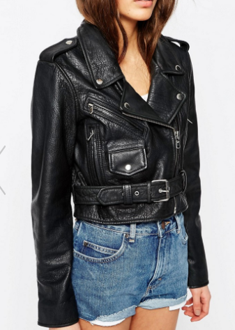 ASOS Cropped Leather Biker in Washed Black