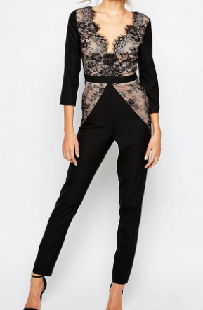 Little Mistress Tall Plunge Front Jumpsuit With Lace Detail