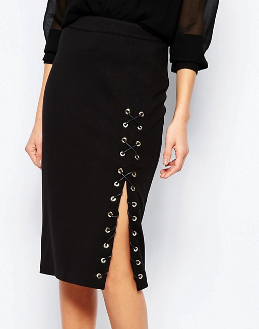 River Island Lace Up Side Sexy Pencil Skirt