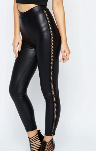 ASOS Leather Look Leggings with Stitch Detail