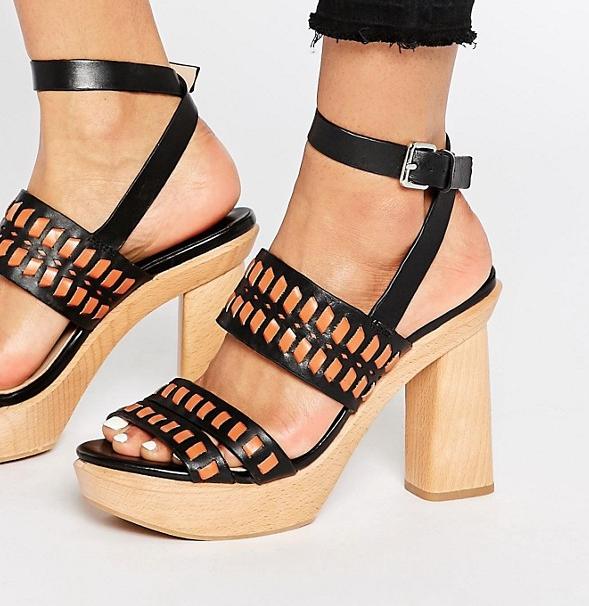 Mango Wooden Block Heel Sandal