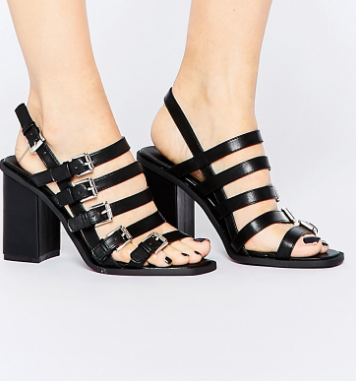 Truffle Collection Multi Buckle Block Heeled Sandals