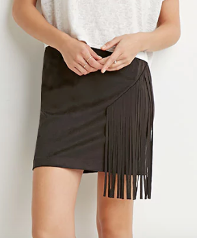 Contemporary Fringed Faux Suede Skirt