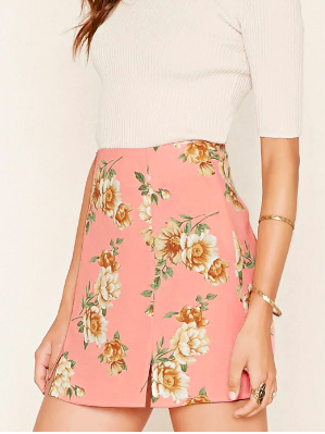 Forever 21 Floral Crepe Mini Skirt