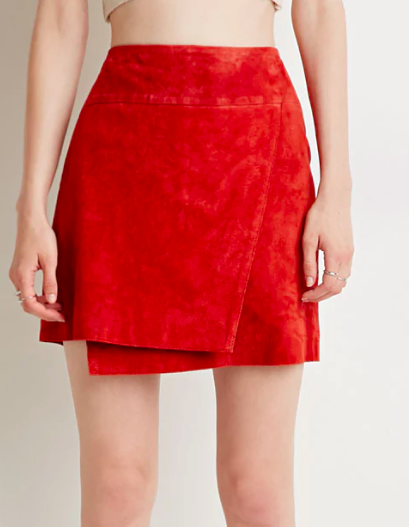 Contemporary Genuine Suede Origami Skirt