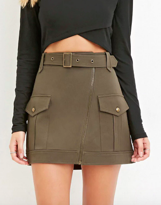 Contemporary Belted Mini Skirt