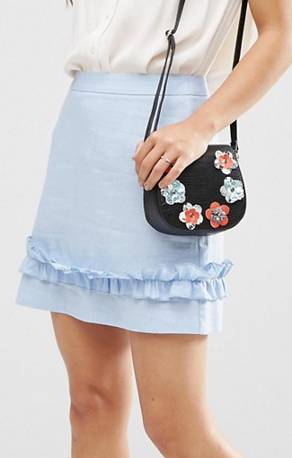 ASOS Linen Mini Skirt With Ruffle Hem