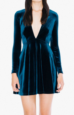 AA Velvet Long Sleeve Deep V Skater Dress