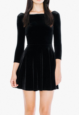 AA Velvet Long Sleeve Skater Dress