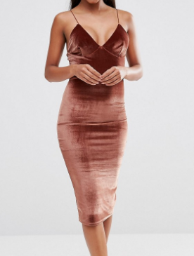 Club L Velvet Cami Strap Midi Dress