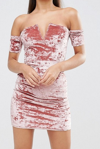 Missguided Crushed Velvet Bardot Mini Dress